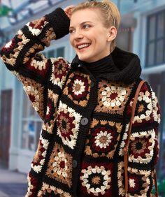 51 Ideas Crochet Slippers Granny Square Etsy For 2019 Cardigan Au Crochet, Crochet Coat, Crochet Jacket, Crochet Shawl, Crochet Clothes, Wool Cardigan, Knitted Coat, Moda Crochet, Pull Crochet