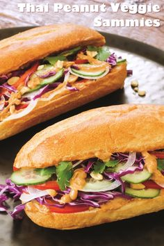 Easy Thai Peanut Veggie Sandwiches Recipe (Vegan, Dairy-Free & optionally Gluten-Free)