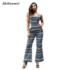 c375b91c1c61 2017 New Elegant Women folk-custom print Sleeveless Spaghetti Strap Flares Jumpsuits  Bodycon Sexy Hollow Out female Jumpsuits