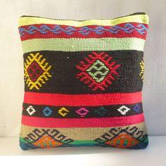 Multicolor ethnic Kilim Pillow Bohemian by PillowTalkOnEtsy, $48.00