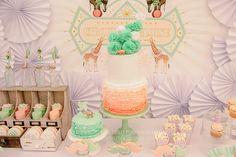 Full Circus Dessert table Pretty Peach & Green Circus Guest Dessert Feature