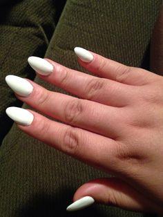 White matte almond nails