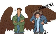 What if Dean was an angel and Castiel was human? Supernatural Angels, Supernatural Memes, Castiel, Creek South Park, Superwholock, Love Art, Cockles, Super Natural, Family Business