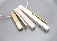 Modernist Tribal Brass + Aluminum Necklace Contemporary Jewelry Design by Natura Metallum