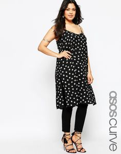 ASOS CURVE Longline Cami with Split Sides in Star Print