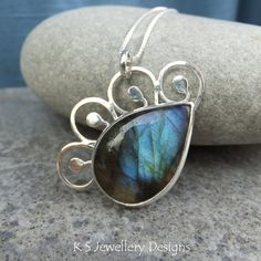 Labradorite Sterling Silver Pendant  SEA by KSJewelleryDesigns, $83.00