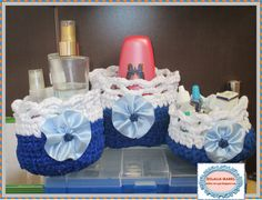 cestas para baño, tejidas a crochet con trapíllo