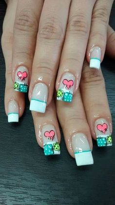 Valentine's Day Nail Designs, Fingernail Designs, Nail Polish Designs, French Manicure Nails, French Nails, Quilted Nails, Blue And White Nails, Paris Nails, Fingernails Painted