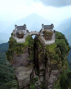 Temple views from a mountain in China Would you dare to visit? Amazing Places On Earth, Beautiful Places To Travel, Places Around The World, Cool Places To Visit, Around The Worlds, Vacation Trips, Dream Vacations, Nature Photography, Travel Photography