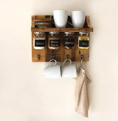 Gorgeous spices or coffee shelf with hanging jars by APT8ecodesign, ₪220.00