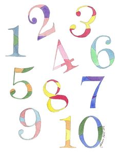 Numbers Watercolor Painting   1 2 3 Kids Room Watercolor Art Print, Rainbow  Numbers