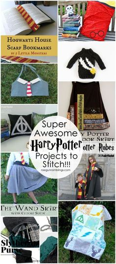 50 Awesome Harry Potter Projects Sewing, knitting, and crochet projects for the Harry Potter lover. Great tutorials and free patterns.Sewing, knitting, and crochet projects for the Harry Potter lover. Great tutorials and free patterns. Diy Sewing Projects, Sewing Projects For Beginners, Sewing Tutorials, Fun Projects, Crochet Projects, Sewing Crafts, Sewing Patterns, Sewing Tips, Sewing Hacks