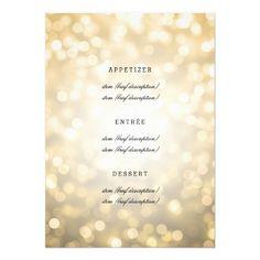 Elegant Wedding Menu Gold Glitter Lights