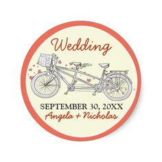 Tandem Bicycle Wedding Invitation Seal (coral) Round Sticker