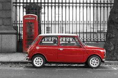 Red Mini Cooper in London, black and white photography selective color © Dutourdumonde Photography