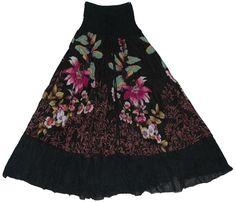 Long Skirts for Girls | Black Floral long skirt dress, Black Camelot Show Girl Skirt