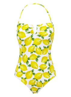 0b2f0a6a89 Lemon Printed Tummy Control Bandeau Swimsuit - swimsuits - Womens swimwear  - Holiday Shop White Bandeau