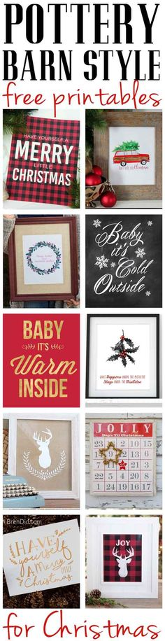 Pottery Barn knock off Christmas printables that are FREE! Add the free prrintables to your Christmas decor today. #christmasdecor #freeprintables #christmas
