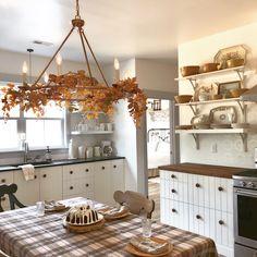 Autumn Kitchen at Starry Sky Farm © Rhiann Wynn-Nolet Ikea Kitchen Cabinets, Kitchen Cabinet Handles, Plumbing Pipe Furniture, Ikea Hackers, Kura Bed, Hemnes, Malm, Organizer, Country Kitchen