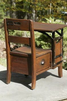 1920s Antique School Desk With Ink Well Newly By