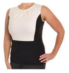 Ann Taylor Retro Colorblock Top S M Sleeveless Ponte Knit Shirt Black Ivory #AnnTaylor #KnitTop #Career