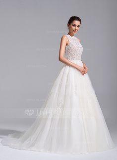 a4523ba6007c [Kr 3 306] Balklänning Rund-urringning Chapel släp Tyll Bröllopsklänning med  Pärlbrodering Applikationer