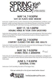 Boston Spring Herbalism classes + vegan cooking classes :)