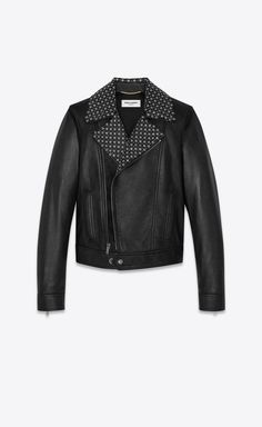 YSL EDIT - Lambskin biker jacket with star studs on the collar, Front view Saint Laurent Store, Designer Trench Coats, Studded Collar, Men Closet, Aesthetic Fashion, Aesthetic Style, Ysl, Biker, Studs