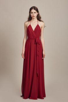 """Carmelle"" - Wrap halter top with spaghetti strap bridesmaids dress shown in Crimson"