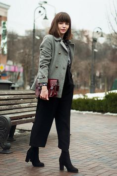 outfit // leaving it up to you | animal arithmetic http://www.animalarithmeticblog.com/2016/02/outfit-leaving-it-up-to-you.html  ZARA grey wool coat // SheIn black floral print blouse // SheIn black elastic waist culotte pants // The Leather Satchel Company mini satchel // ASOS Truffle Collection seren fringe heeled ankle boots