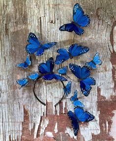 Wild Blue Yonder Monarch Butterfly Fascinator by VivaDelfina