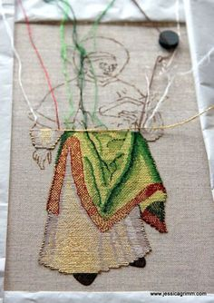 Progress on St. Laurence after six days of stitching - Jessica Grimm Medieval Embroidery, Gold Embroidery, Cross Stitch Embroidery, Embroidery Patterns, Bayeux Tapestry, Gold Work, Satin Stitch, Fabric Manipulation, Embroidery Techniques