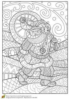 Dessin à colorier pour un hiver zen, distribution du père Noël - Hugolescargot.com