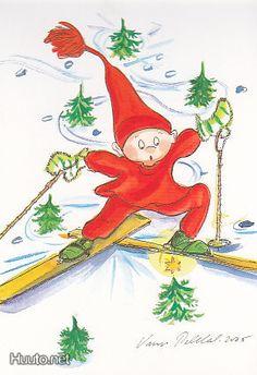 Skiing (Makes me smile.) by Virpi Pekkala, Finland Christmas Cartoons, Christmas Clipart, Vintage Christmas Cards, Christmas Images, Christmas And New Year, Christmas Fun, Christmas Printables, Xmas, Holiday
