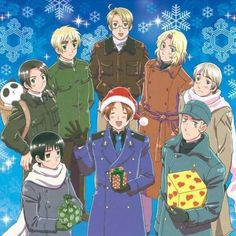 Merry Christmas Axis Powers & Allied Forces Hetalia China Russia America France England Japan Italy Germany