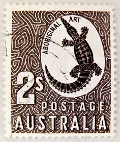 Australia Postage Stamp: Aboriginal Art c. part of the Zoological series depicts aboriginal rock carving of a crocodile Rare Stamps, Vintage Stamps, Stamp Dealers, Postage Stamp Art, Indigenous Art, Aboriginal Art, Mail Art, Stamp Collecting, History