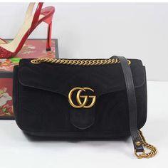 2a5d205919b0 GG Marmont Velvet Shoulder Bag Black 443497