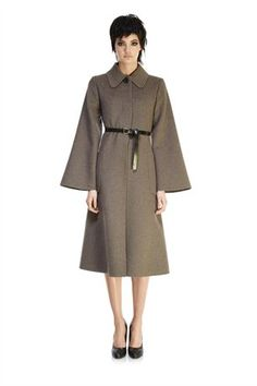Double-Faced Striped Wool Coat with Belt