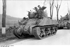 Germans using captured American Sherman tanks, Anzio front March 1944.
