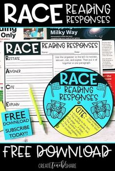 This RACE Wheel and Graphic Organizer are perfect for helping students write meaningful reading responses for literature and informational texts. This free resource is great for upper elementary classrooms. 6th Grade Ela, 4th Grade Writing, Third Grade Reading, Middle School Reading, Guided Reading, Close Reading, Sixth Grade, Grade 3, Fifth Grade Math
