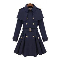 Vintage Women Wool Winter Warm Blue Long Jacket Coat Trench Parka Dress Outwear | eBay