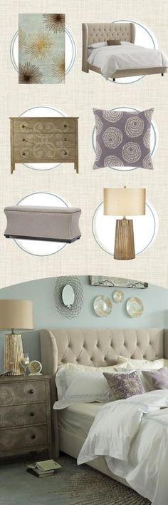 To create a serene master bedroom, try pairing an upholstered wingback bed with a down-filled duvet for a cozy, cloud-like bed. Then, add luxe accents like metallic bedside lamps and a plush patterned rug. Visit Wayfair and sign up today to get access to exclusive deals everyday up to 70% off. Free shipping on all orders over $49. by cathleen