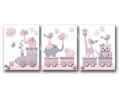 Nursery poster baby girl room artwork pink gray by PinkRockBabies