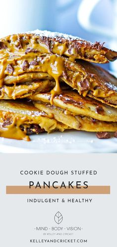Light and fluffy, these grain-free and gluten-free pancakes taste just like the real deal. Then I stuff the pancakes with a nut butter-based cookie dough to give you a healthy dose of protein and healthy fats. Voila- dessert worthy, HEALTHY, WELL-BALANCED cookie dough pancakes!