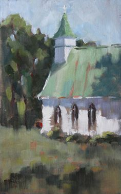 Little White Church by Lesley Powell Oil ~ 15 x 9