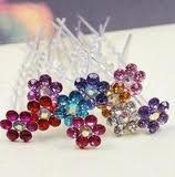 crystal flower Bridal party Hair Pins. Wedding Jewelry!5 pins!l pink!! *** Check out this great product.