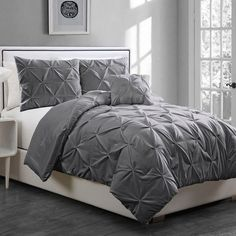 Anabelle Pinch Pleat 3-pc. Comforter Set ($90) ❤ liked on Polyvore featuring home, bed & bath, bedding, comforters, grey, gray comforter, gray twin comforter, tufted bedding, grey comforter and grey comforter sets