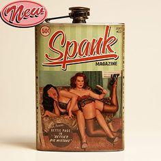Retro A Go Go Bettie Page Vintage Spank magazine Flask