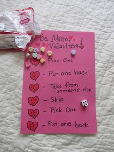 Valentine's Day dice game with Conversation Hearts.
