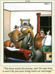 """""""The Far Side"""" by Gary Larson. Early mob tactics were much more civilized - LOL Short Jokes Funny, Wtf Funny, Hilarious, Far Side Cartoons, Far Side Comics, Cartoon Jokes, Funny Cartoons, The Far Side Gallery, Gary Larson Far Side"""